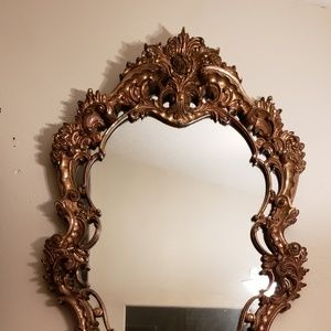 .Grand Antique Brass inlay over wood mirror